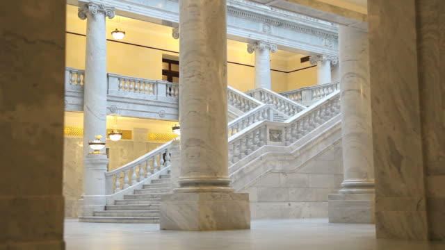 pan from granite wall to steps in utah state capitol - granite stock videos & royalty-free footage