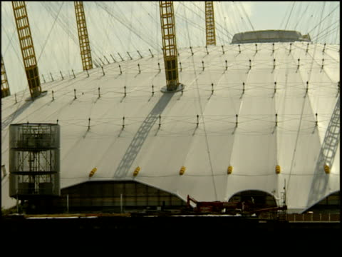 Pan from left to right across Millennium Dome; London.