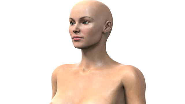 a pan from left to right of the female upper torso from which a section of the skin fades up and zooms out.  the camera then pans from left to right to left again. - female likeness stock videos & royalty-free footage