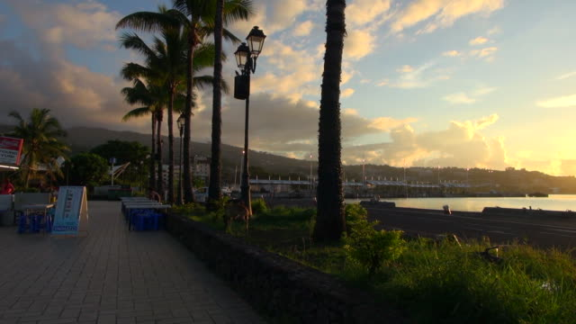 pan from sunset to food vendors in tahiti - tahiti video stock e b–roll