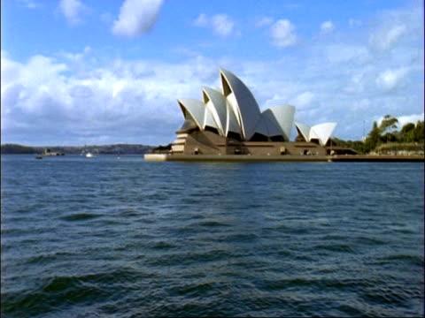 MS  pan from Sydney Opera House to Sydney Harbour Bridge, Sydney, Australia