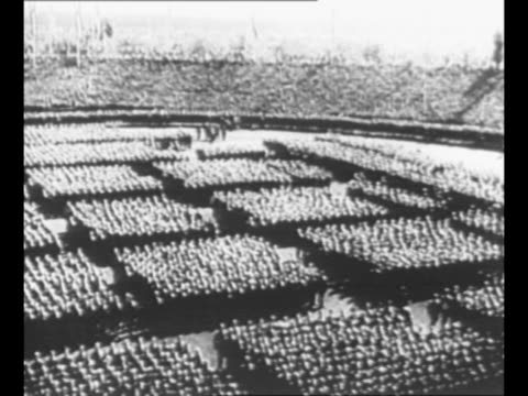 pan german troops in formation at nazi party rally grounds in nuremberg, with stands packed / side view german chancellor adolf hitler speaks /... - adolf hitler stock videos & royalty-free footage
