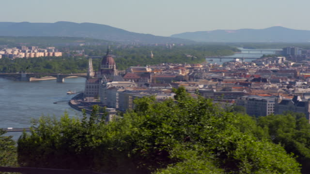 pan: glorious panoramic of budapest from the citadel - budapest stock-videos und b-roll-filmmaterial