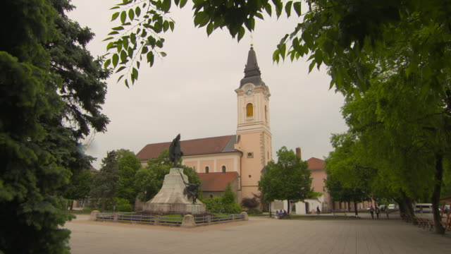 Pan: Lajos Kossuth Sculpture in Liberty Square and Ascension Cathedral Beyond