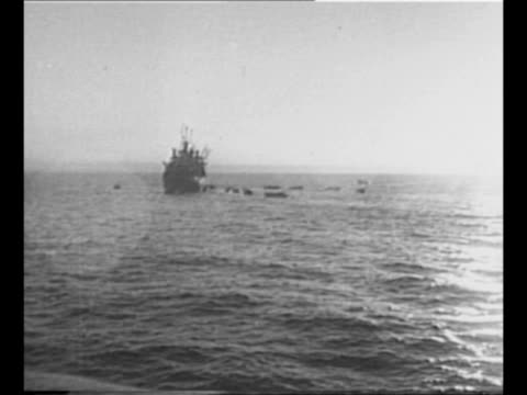 pan landing crafts in ocean / transport ship with barges nearby as sun reflects on water / landing crafts head for shore during allied invasion of... - 1943 stock videos & royalty-free footage
