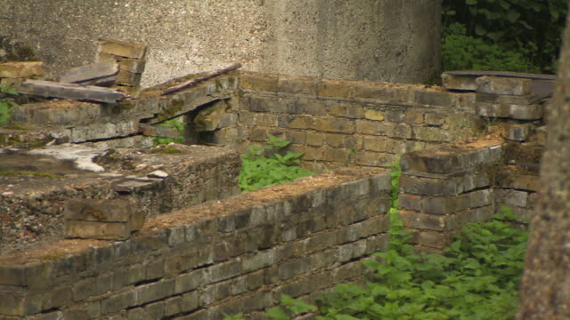 Pan left across crumbling brick walls and concrete with overgrown nettles forming part of the Waltham Abbey Royal Gunpowder Mills Essex UK FKAZ191X...