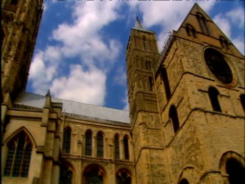 pan left across front of canterbury cathedral - canterbury cathedral stock videos & royalty-free footage