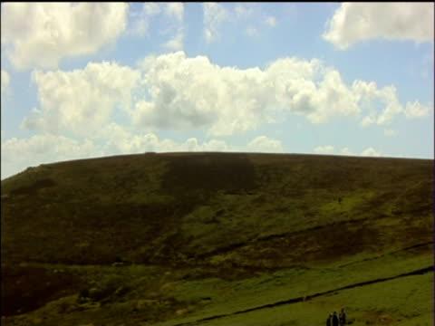 pan left across hamildon hill dartmoor - dartmoor stock videos & royalty-free footage