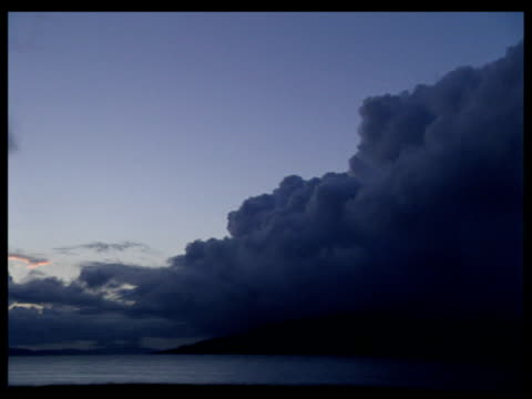 Pan left across loch with silhouette of land under dark and cloudy sky at dusk. Isle of Mull.