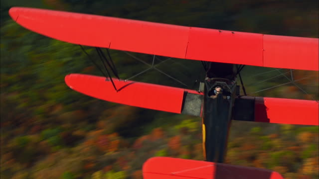 pan left across red and black new standard d-25 biplane in flight over dense new england forest, rhinebeck, new york available in hd. - 空気力学点の映像素材/bロール