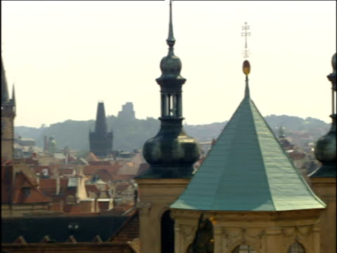pan left across the skyline of prague showing spires and turrets - spira tornspira bildbanksvideor och videomaterial från bakom kulisserna