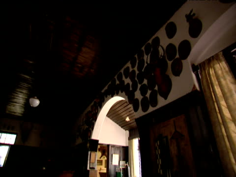pan left across trophies and mounted animal heads on walls of high range club munnar india - stuffed stock videos & royalty-free footage