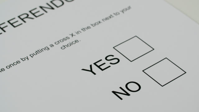 pan left across yes or no referendum voting paper - politics stock videos & royalty-free footage