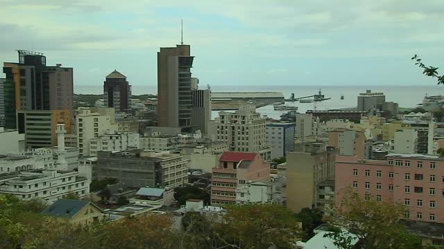 Pan Left Aerial Shot Port Louis Mauritius