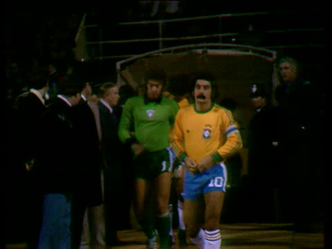 Pan left as Brazil captain Rivelino jogs out for second half of friendly international England vs Brazil Wembley Stadium London 19 Apr 78