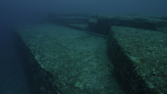 Pan left from Yonaguni monument to deep water. Japan