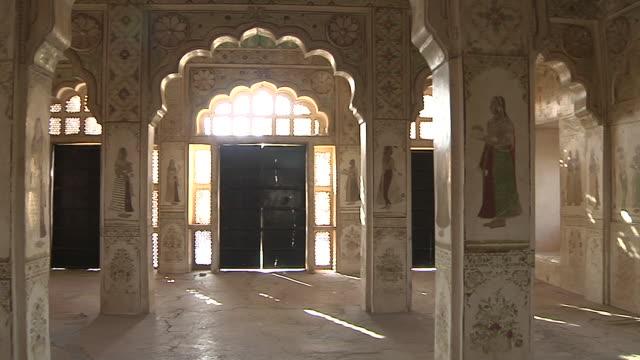 pan left interior ahhichatragarh fort nagaur rajasthan india - female likeness stock videos & royalty-free footage