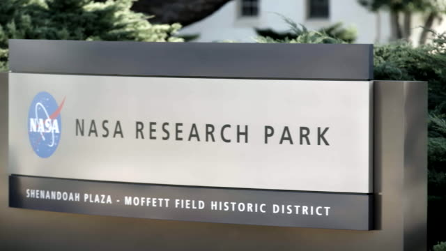 Pan left, NASA Research Park sign
