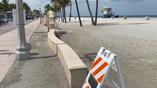 pan left of closed hollywood beach in florida for 4th of july. - hollywood florida stock videos & royalty-free footage