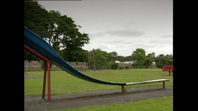 pan left of playground with swings and slide; 1993 - 1993 stock videos & royalty-free footage