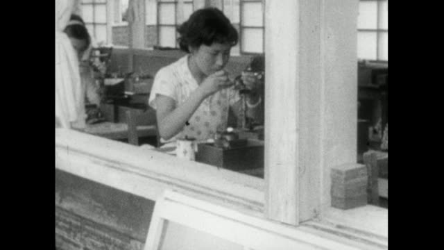 pan left of women working in a japanese pearl farm; 1959 - 1959 stock videos & royalty-free footage