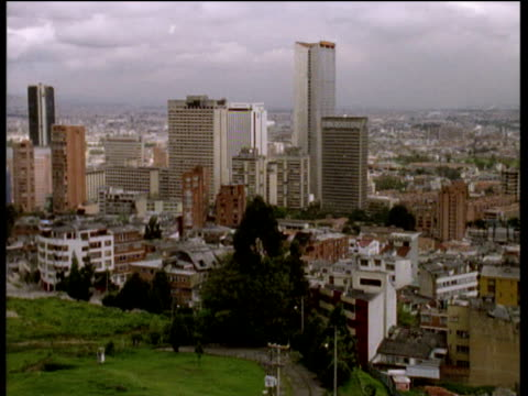 Pan left over cityscape of Bogota Colombia