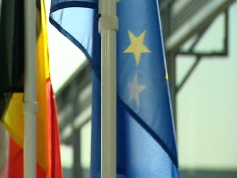 pan left over european flags displayed in a row - in a row stock videos & royalty-free footage