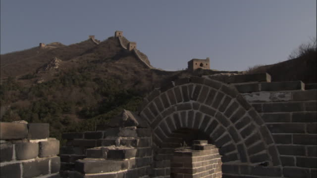 pan left over great wall of china at badaling, beijing. - great wall of china stock videos & royalty-free footage