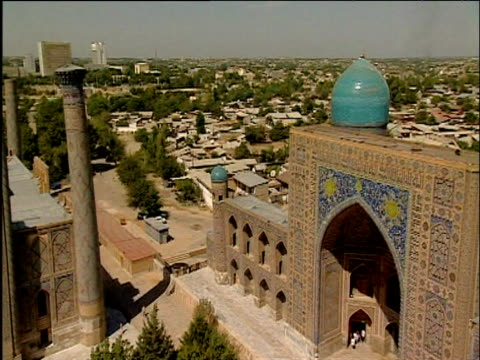 pan left over mosques of samarkand - art stock videos & royalty-free footage
