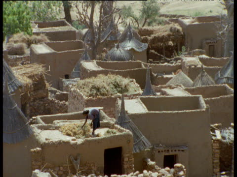 vidéos et rushes de pan left over roofs of dogon village to woman on roof with drying crops, mali - village