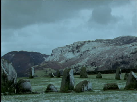 pan left over stone circle in snow lake district - obelisk stock videos & royalty-free footage