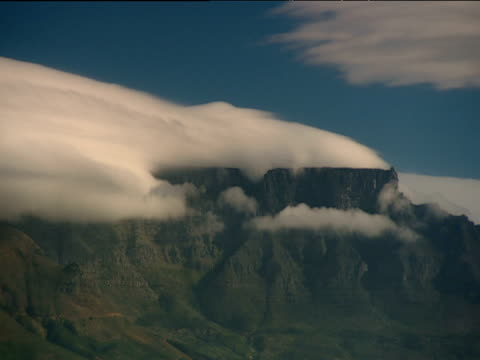 vídeos de stock, filmes e b-roll de pan left over table mountain with layer of cloud resting on top - península
