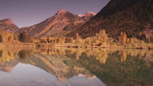 Pan left, scenic lake in Utah mountains