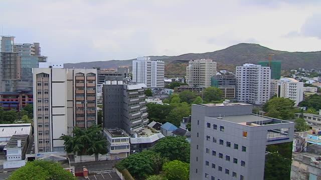 Pan Left Shot Aerial Port Louis Mauritius