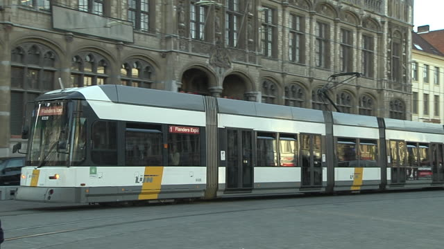 pan left shot ghent east flanders belgium - tram stock videos & royalty-free footage