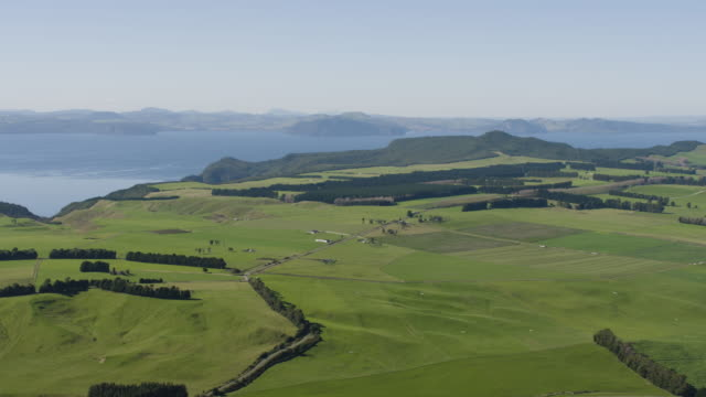 pan left shot of the countryside near the lake taupo - farmhouse stock videos & royalty-free footage