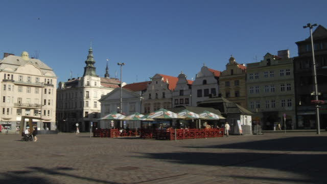 pan left shot pilsen city  west bohemia czech republic - czech republic stock videos & royalty-free footage