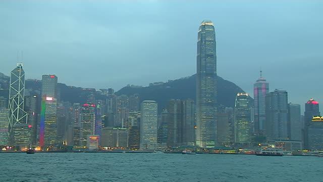 pan left shot skyline aberdeen harbour hong kong kwangtung china - aberdeen hong kong stock videos & royalty-free footage