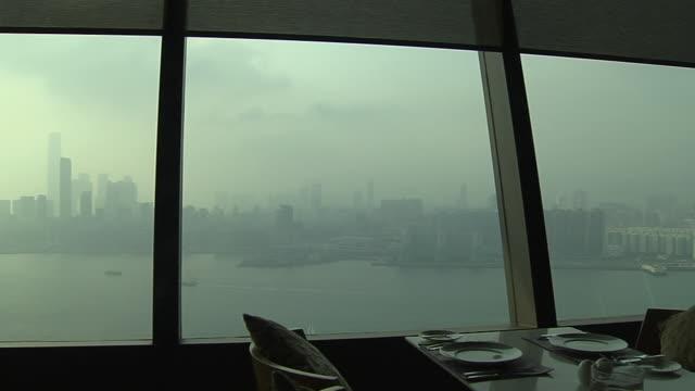 vídeos de stock, filmes e b-roll de pan left shot skyline view from hotel hong kong kwangtung china - almofada