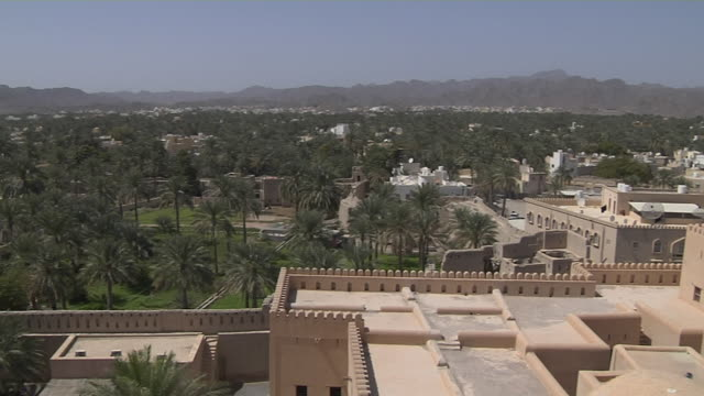Pan Left Shot View From Nizwa Fort Muscat Oman