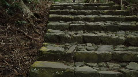 pan left, stone stairs in kumano kodo - steps and staircases stock videos & royalty-free footage