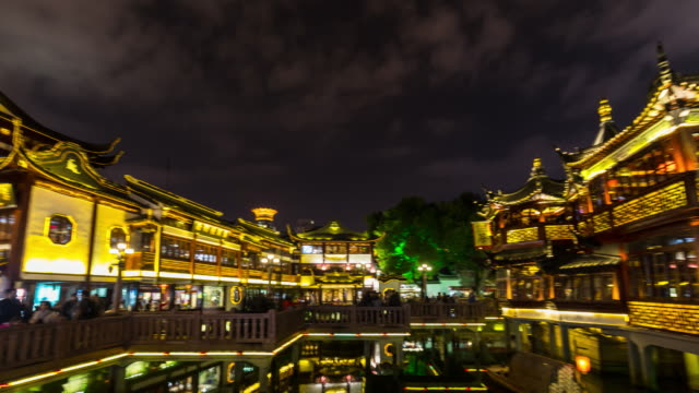 TL Pan left, Teahouse in Yu gardens at night