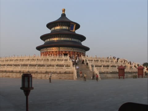 pan left to a wide shot of the temple of heaven in china. the temple of heaven, literally the altar of heaven is a complex of taoist buildings... - temple of heaven stock videos & royalty-free footage