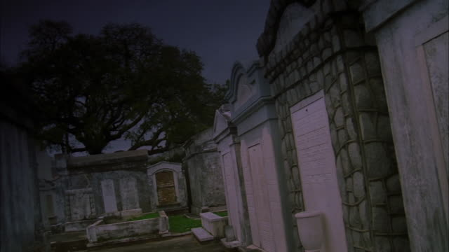 Pan left to right across crypts in walled cemetery, Louisiana, New Orleans Available in HD.