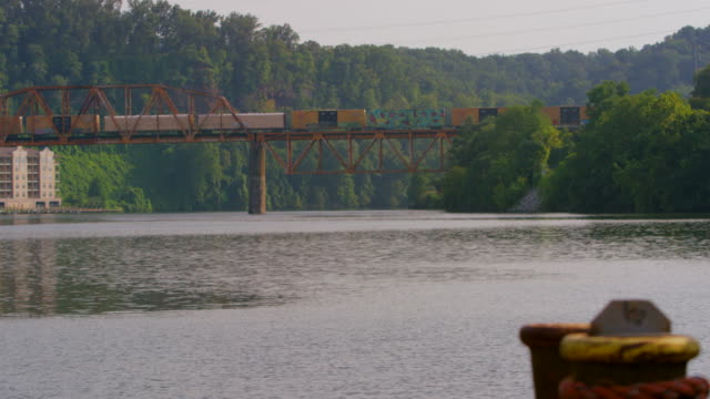 pan left to right: bridge in knoxville tennessee (shot on red) - tennessee video stock e b–roll