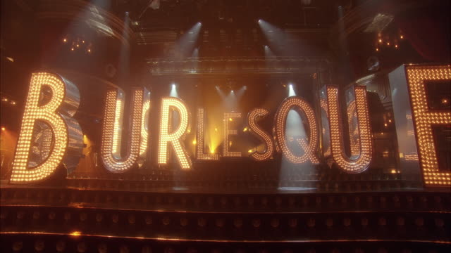 pan left to right of letters with lights on them that spell burlesque on stage. could be in theater or nightclub. - burlesque stock videos & royalty-free footage