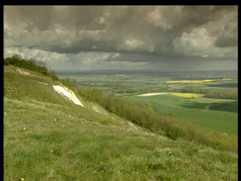 pan left to right over english countryside with fields trees and patches of chalk sun breaking through cloudy sky creating shadows on the land. - crucifers stock videos and b-roll footage