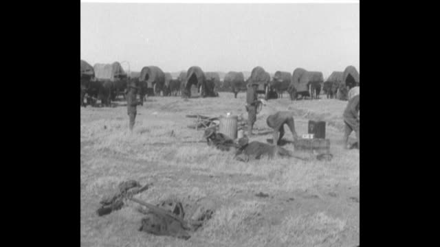 pan line of covered wagons as wagon crew does chores in front of them at the gibson ranch camp, where the transport rests en route to general john... - ranch stock videos & royalty-free footage