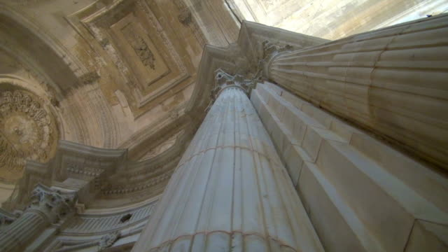 pan: magnificent columns of cadiz cathedral - column stock videos & royalty-free footage