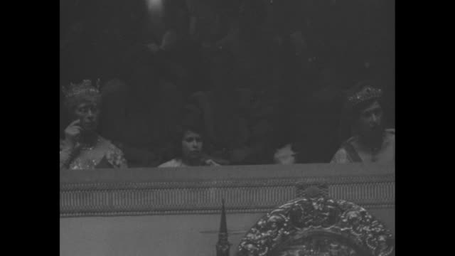 pan members of royal family in royal box at coronation ceremony for king george vi and queen elizabeth, l to r: claude bowes-lyon and cecilia... - archbishop of canterbury stock videos & royalty-free footage